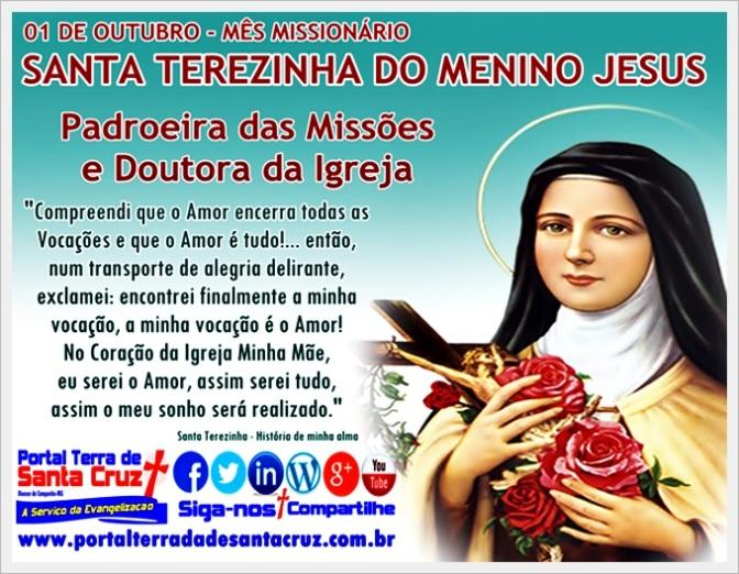 Santa Terezinha do Menino Jesus – Padroeira das Missões e Doutora da Igreja